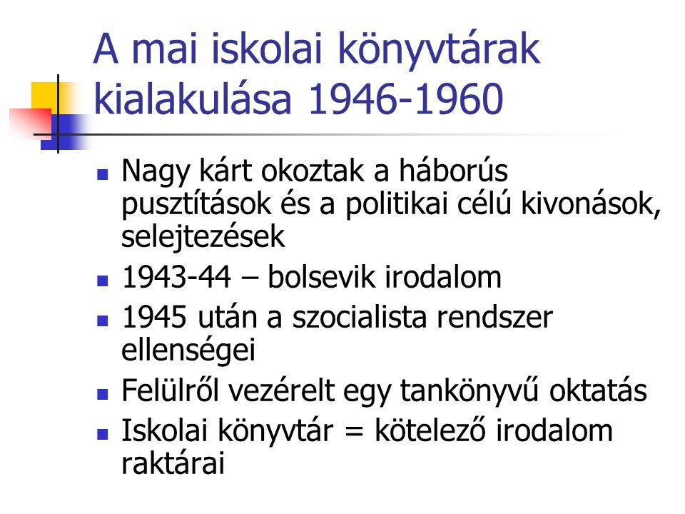 A mai iskolai könyvtárak kialakulása 1946-1960