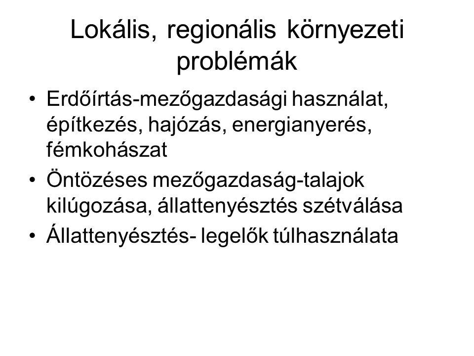 Lokális, regionális környezeti problémák