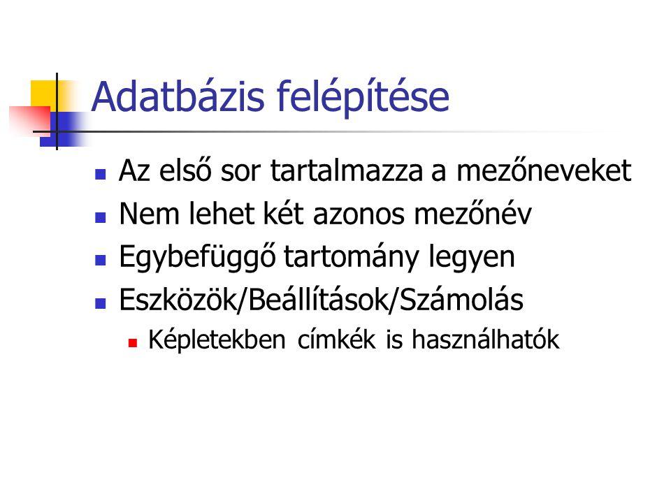 Adatbázis felépítése Az első sor tartalmazza a mezőneveket