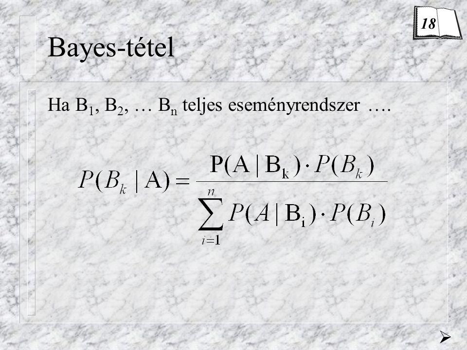 18 Bayes-tétel Ha B1, B2, … Bn teljes eseményrendszer …. 