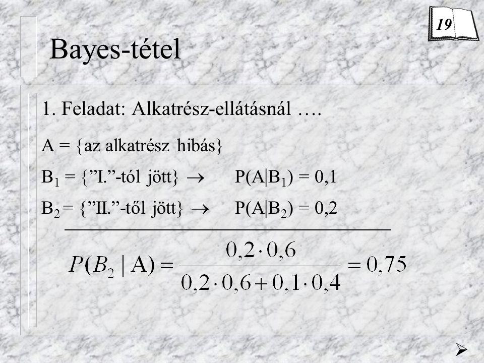 Bayes-tétel 1. Feladat: Alkatrész-ellátásnál ….