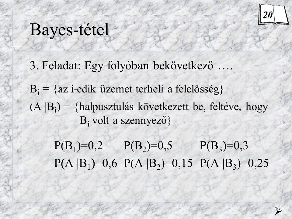 Bayes-tétel 3. Feladat: Egy folyóban bekövetkező ….