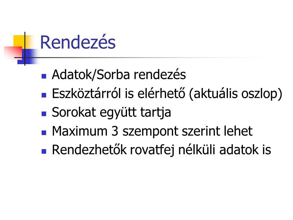 Rendezés Adatok/Sorba rendezés