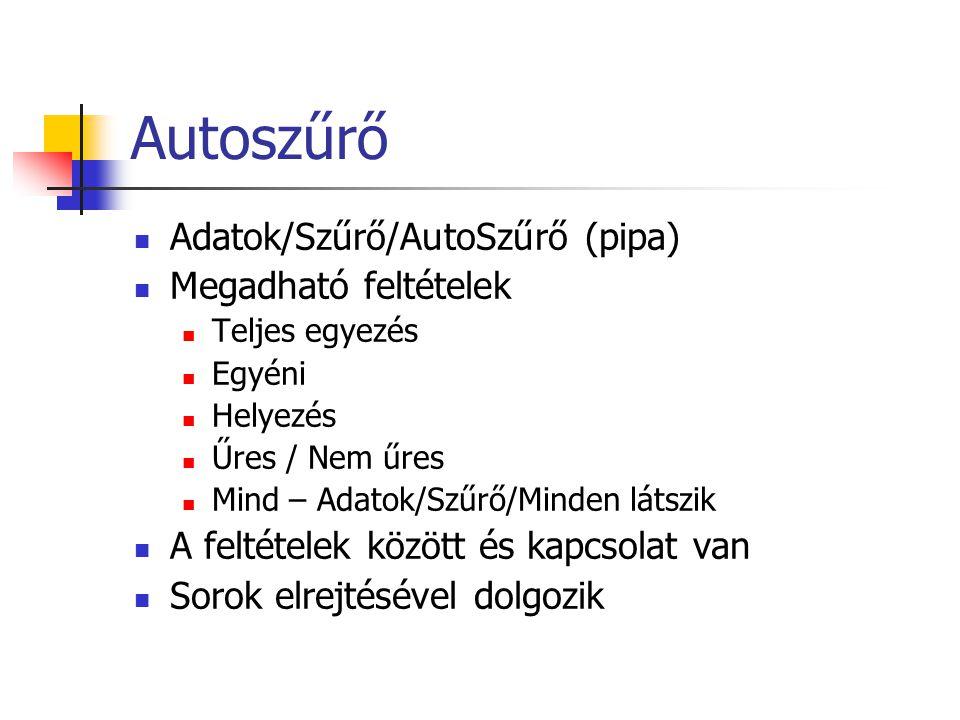 Autoszűrő Adatok/Szűrő/AutoSzűrő (pipa) Megadható feltételek