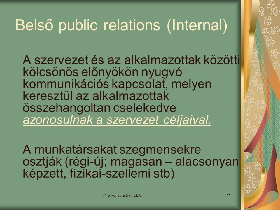 Belső public relations (Internal)