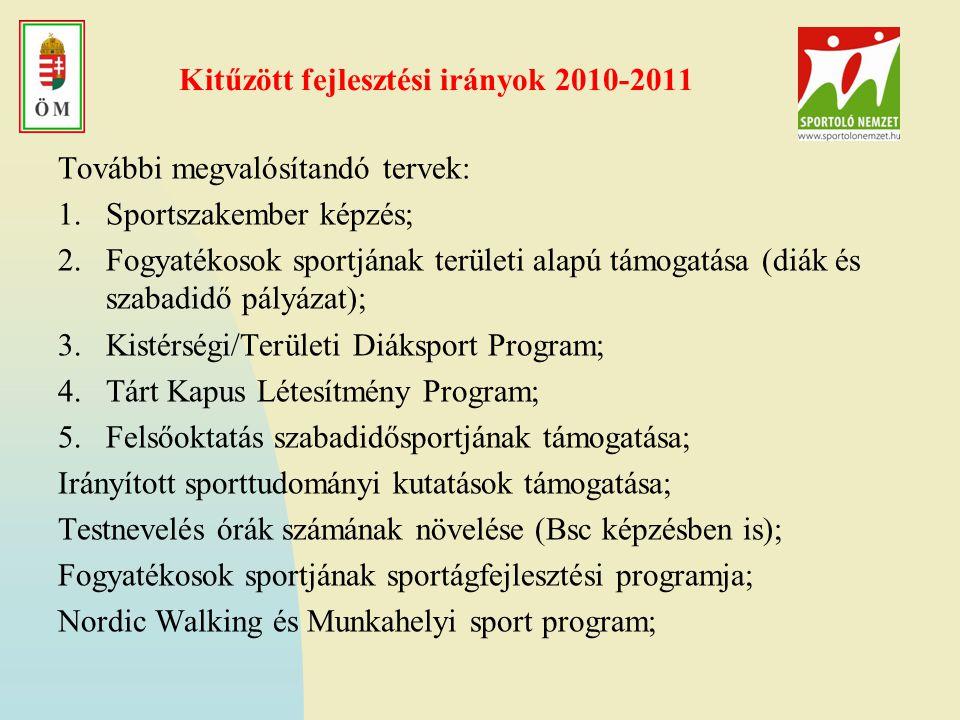 Kitűzött fejlesztési irányok 2010-2011