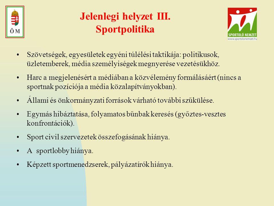 Jelenlegi helyzet III. Sportpolitika