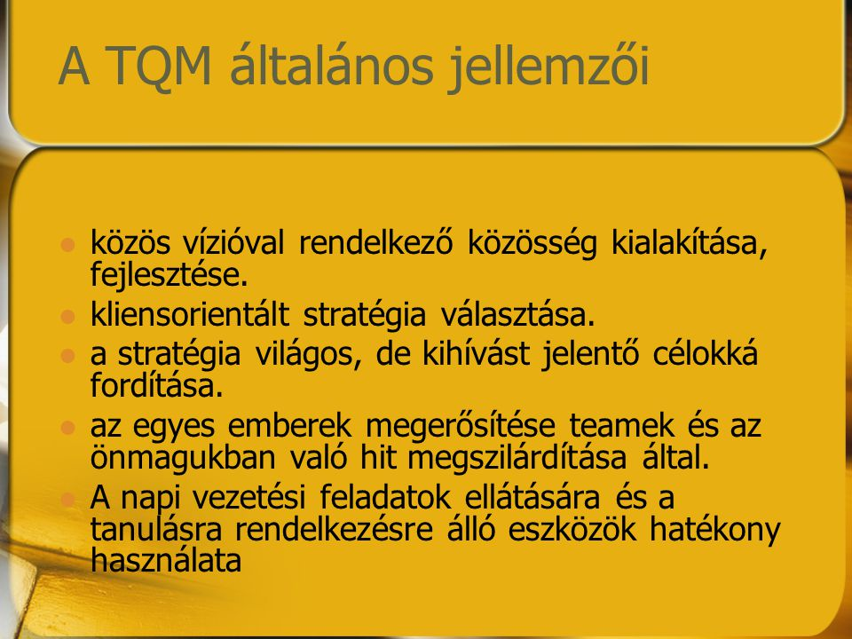 A TQM általános jellemzői