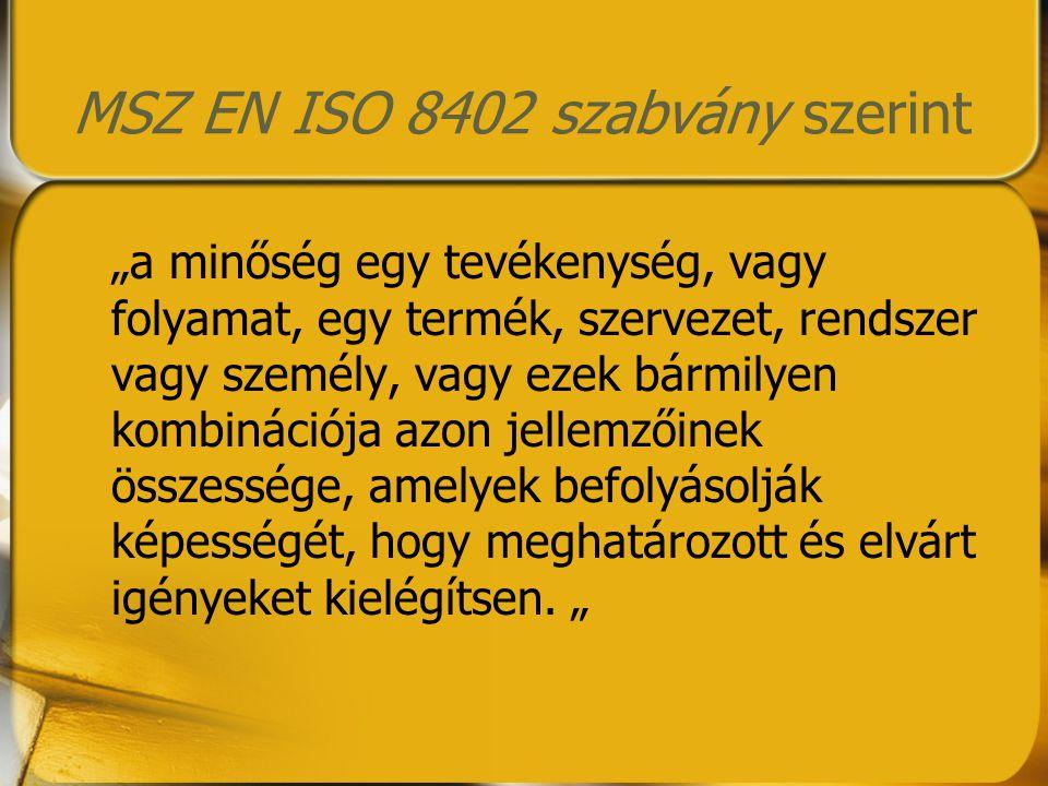 MSZ EN ISO 8402 szabvány szerint