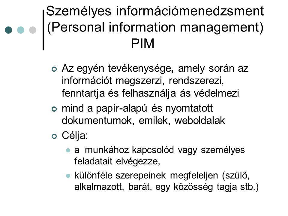 Személyes információmenedzsment (Personal information management) PIM