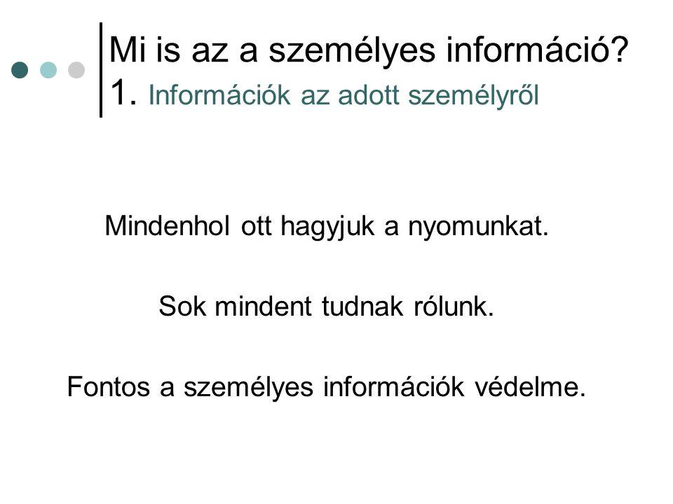 Mi is az a személyes információ 1. Információk az adott személyről