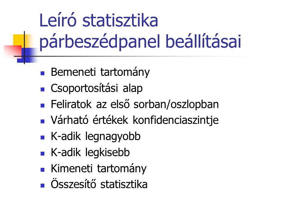 Leíró statisztika párbeszédpanel beállításai