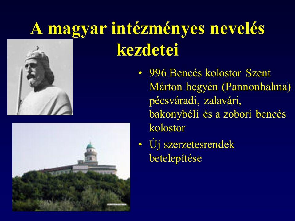 A magyar intézményes nevelés kezdetei