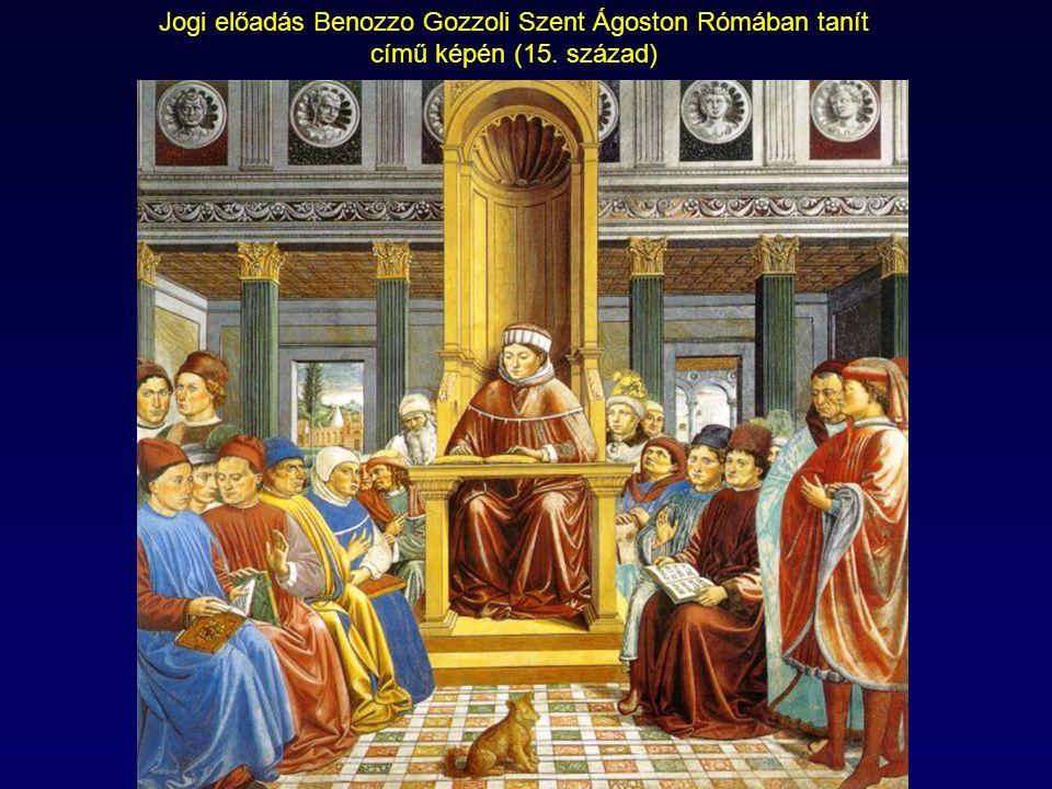 Jogi előadás Benozzo Gozzoli Szent Ágoston Rómában tanít című képén (15. század)