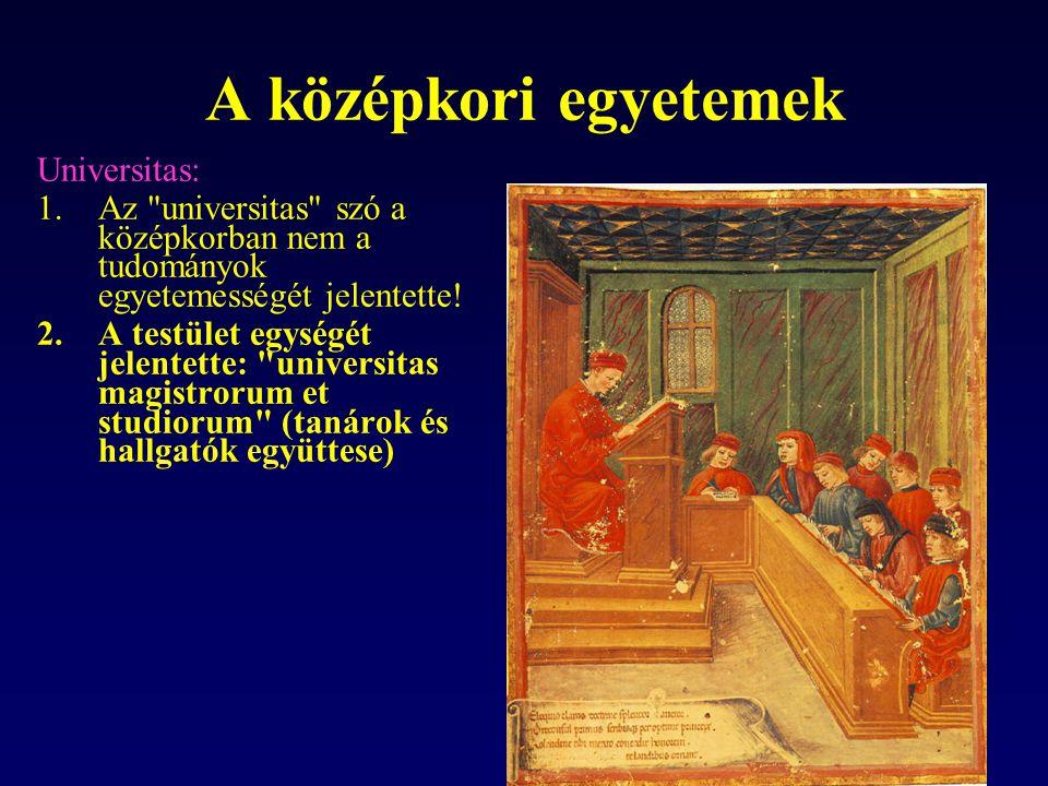 A középkori egyetemek Universitas: