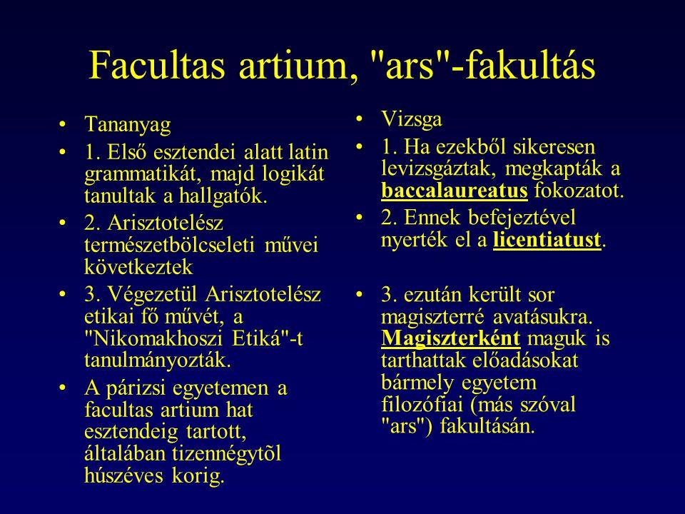 Facultas artium, ars -fakultás