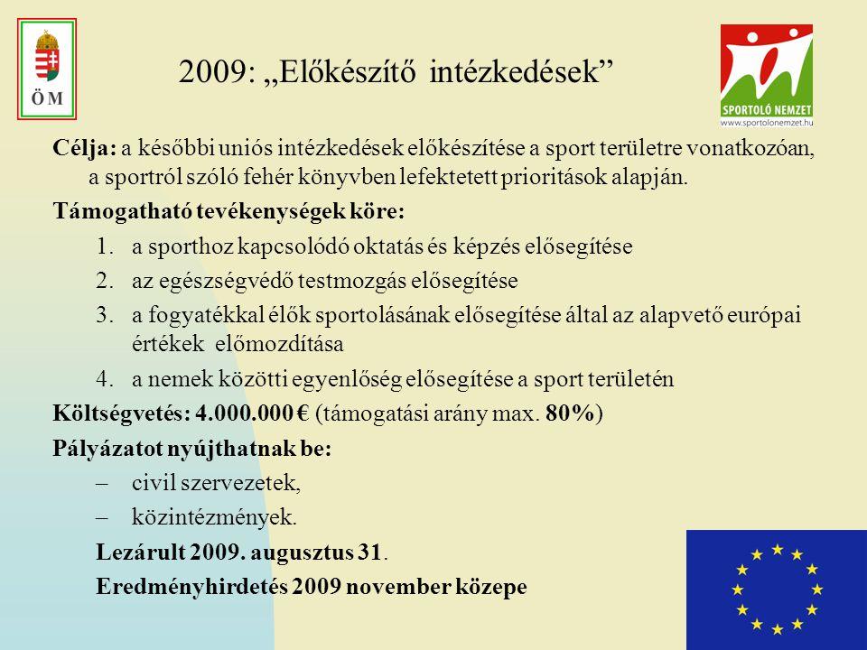 """2009: """"Előkészítő intézkedések"""