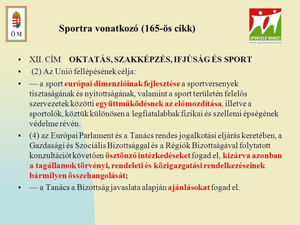 Sportra vonatkozó (165-ös cikk)