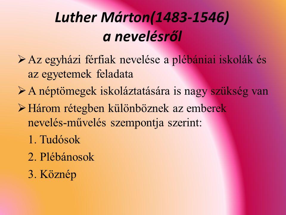 Luther Márton(1483-1546) a nevelésről