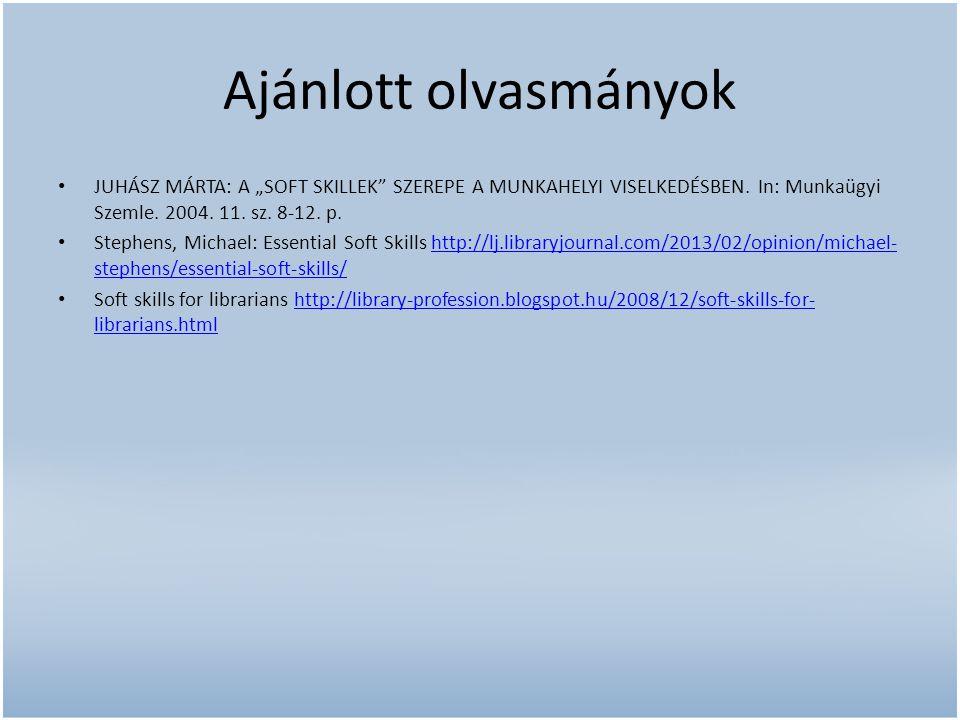 """Ajánlott olvasmányok JUHÁSZ MÁRTA: A """"SOFT SKILLEK SZEREPE A MUNKAHELYI VISELKEDÉSBEN. In: Munkaügyi Szemle. 2004. 11. sz. 8-12. p."""