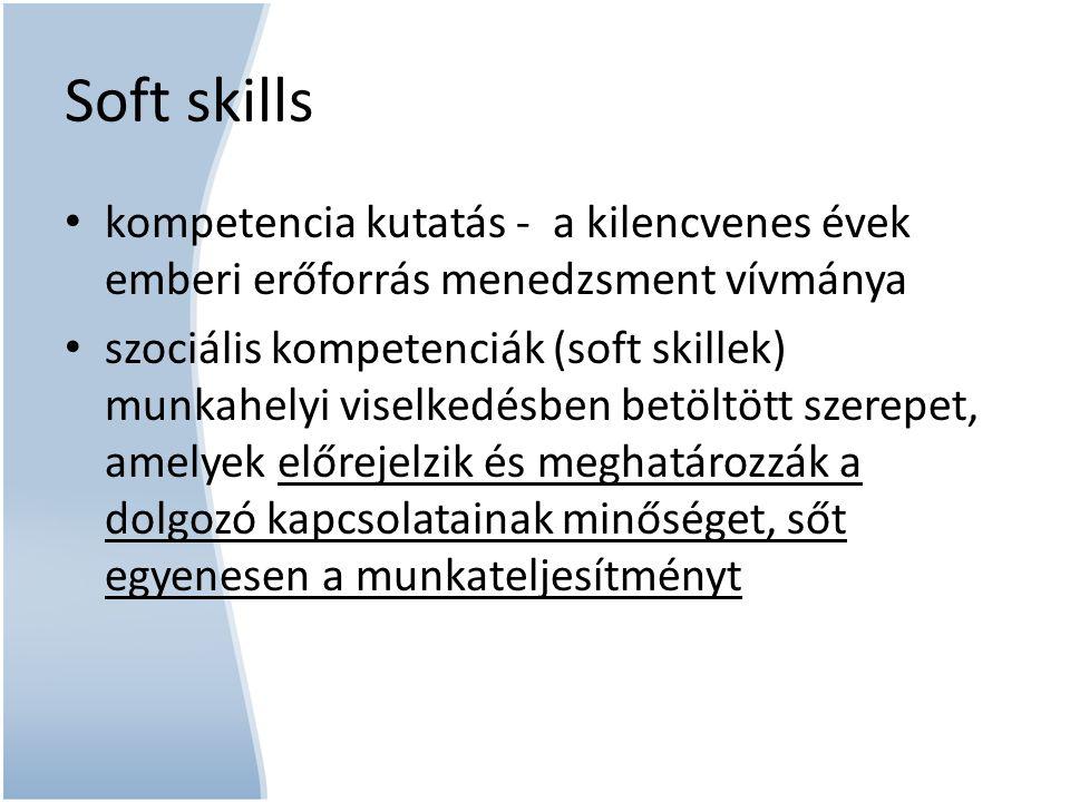 Soft skills kompetencia kutatás - a kilencvenes évek emberi erőforrás menedzsment vívmánya.