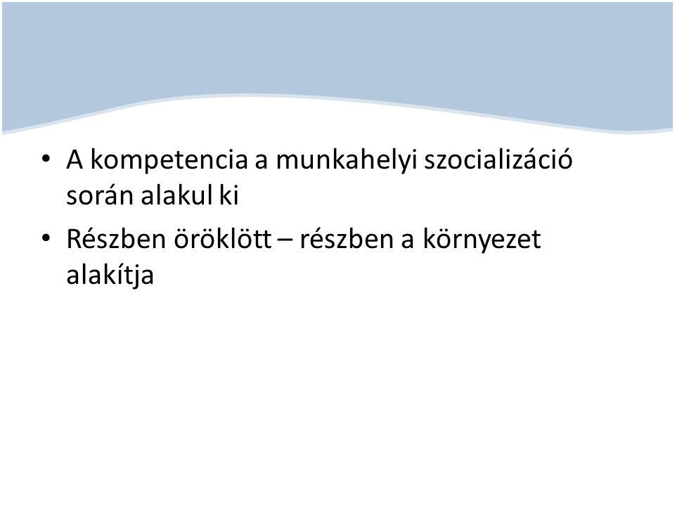 A kompetencia a munkahelyi szocializáció során alakul ki