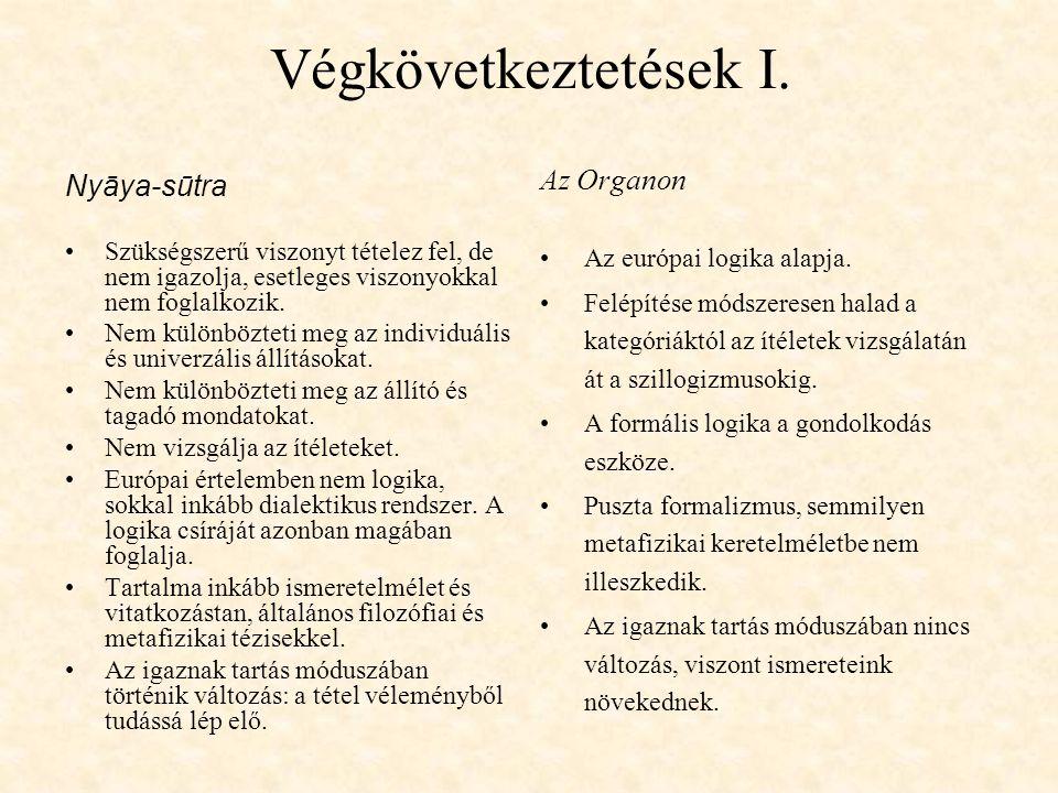 Végkövetkeztetések I. Az Organon Nyāya-sūtra Az európai logika alapja.