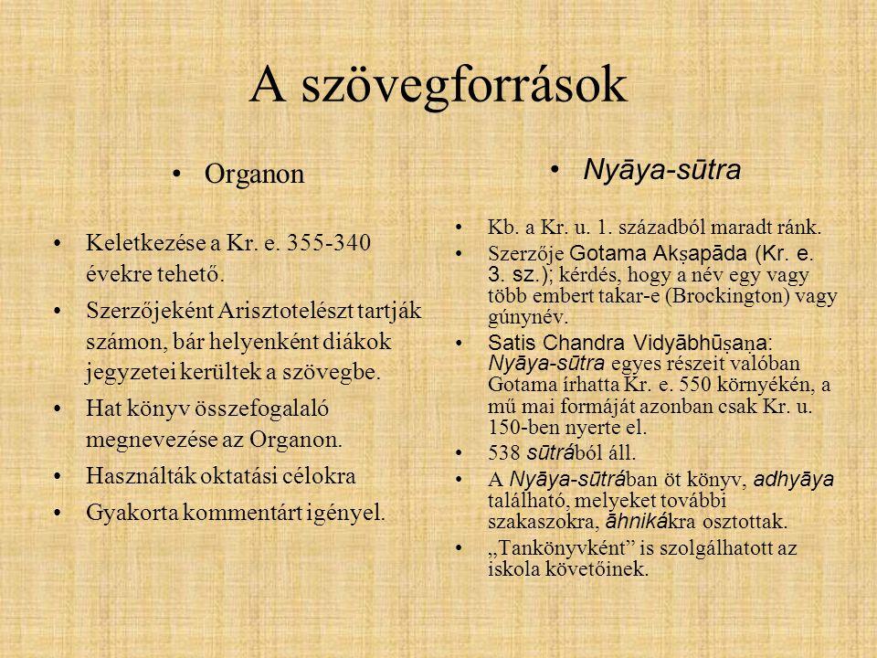 A szövegforrások Organon Nyāya-sūtra