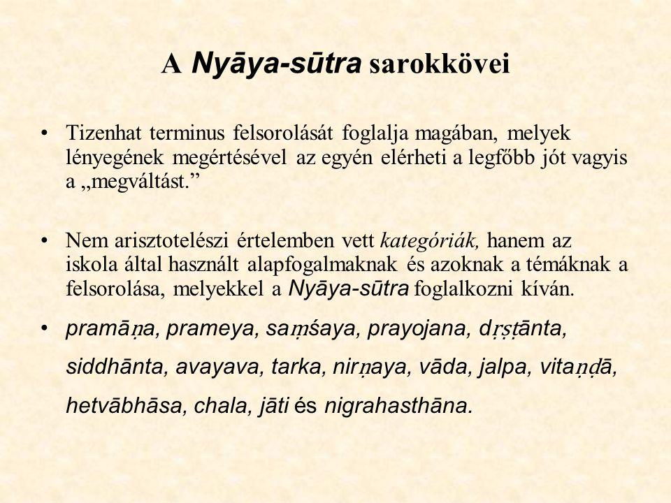 A Nyāya-sūtra sarokkövei