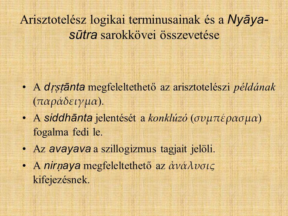 Arisztotelész logikai terminusainak és a Nyāya-sūtra sarokkövei összevetése