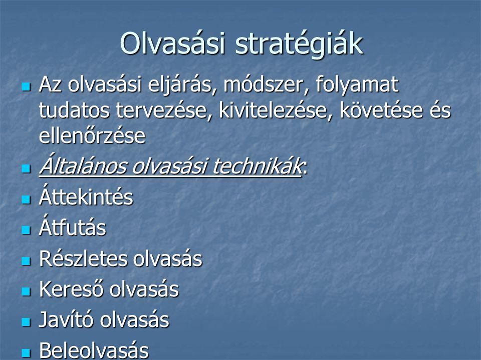 Olvasási stratégiák Az olvasási eljárás, módszer, folyamat tudatos tervezése, kivitelezése, követése és ellenőrzése.