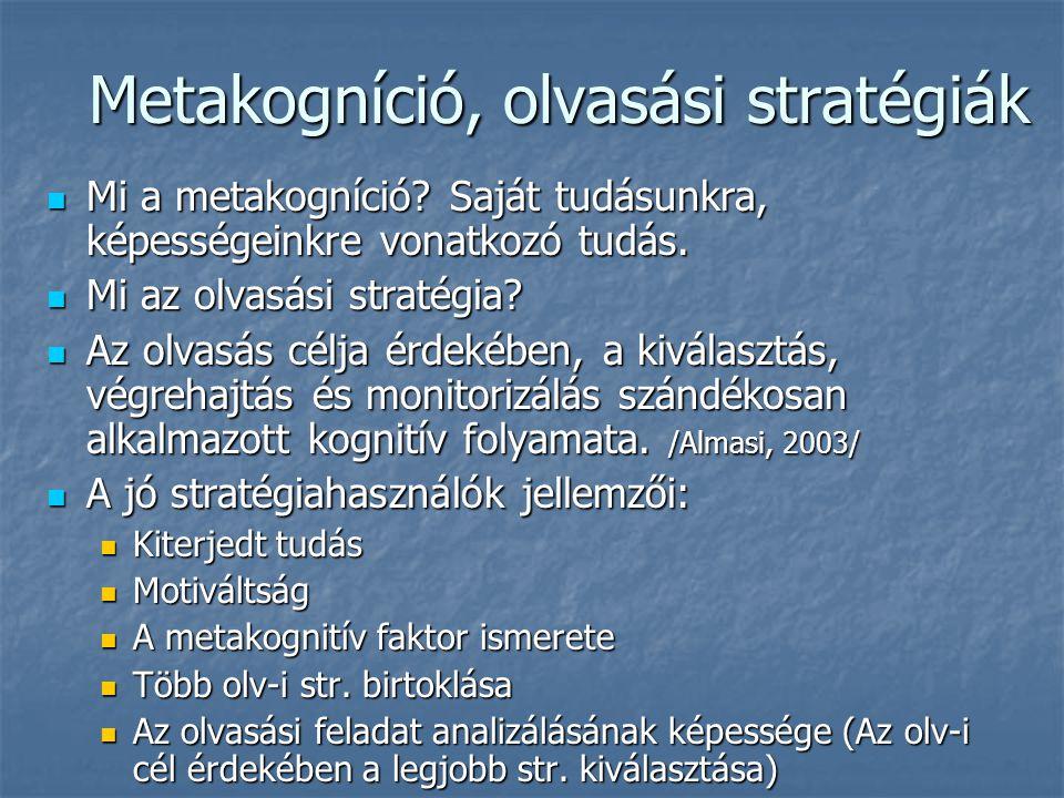 Metakogníció, olvasási stratégiák