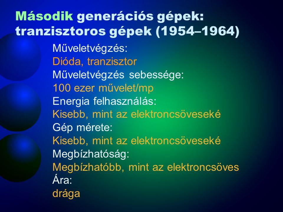 Második generációs gépek: tranzisztoros gépek (1954–1964)