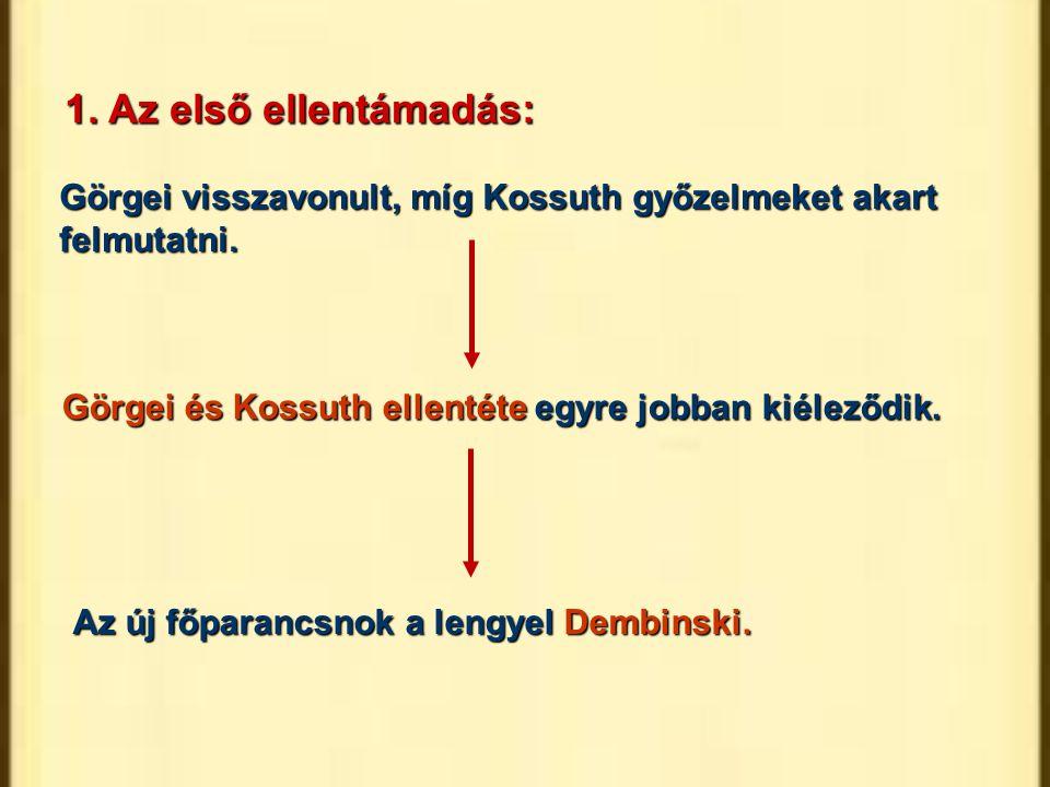 1. Az első ellentámadás: Görgei visszavonult, míg Kossuth győzelmeket akart felmutatni. Görgei és Kossuth ellentéte egyre jobban kiéleződik.