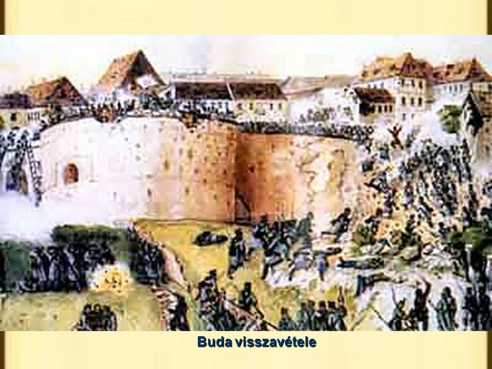 Buda visszavétele Hentzi Pestet löveti.