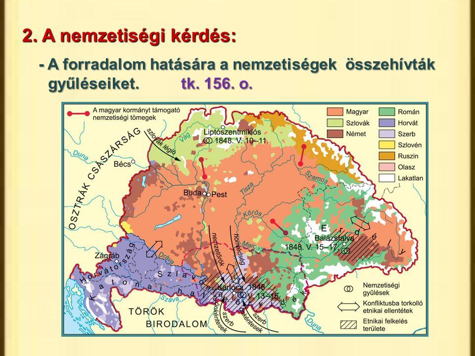 2. A nemzetiségi kérdés: - A forradalom hatására a nemzetiségek összehívták gyűléseiket. tk.