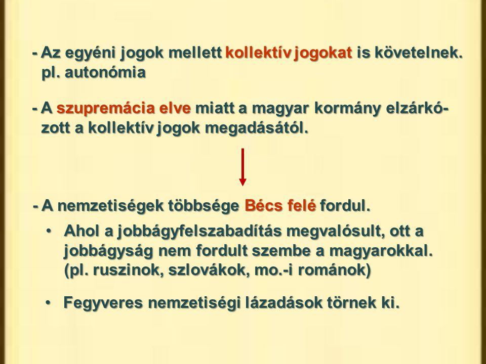 - Az egyéni jogok mellett kollektív jogokat is követelnek. pl