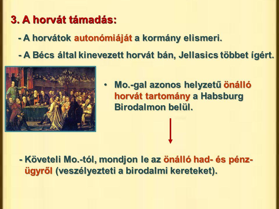 3. A horvát támadás: - A horvátok autonómiáját a kormány elismeri.