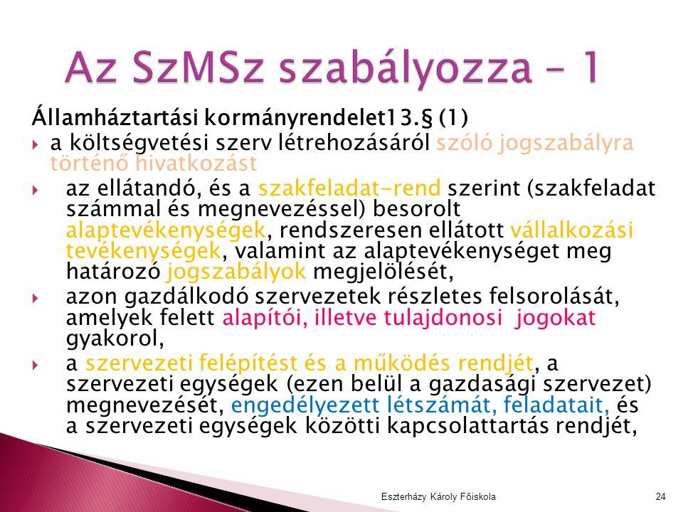 Az SzMSz szabályozza – 1 Államháztartási kormányrendelet13.§ (1)