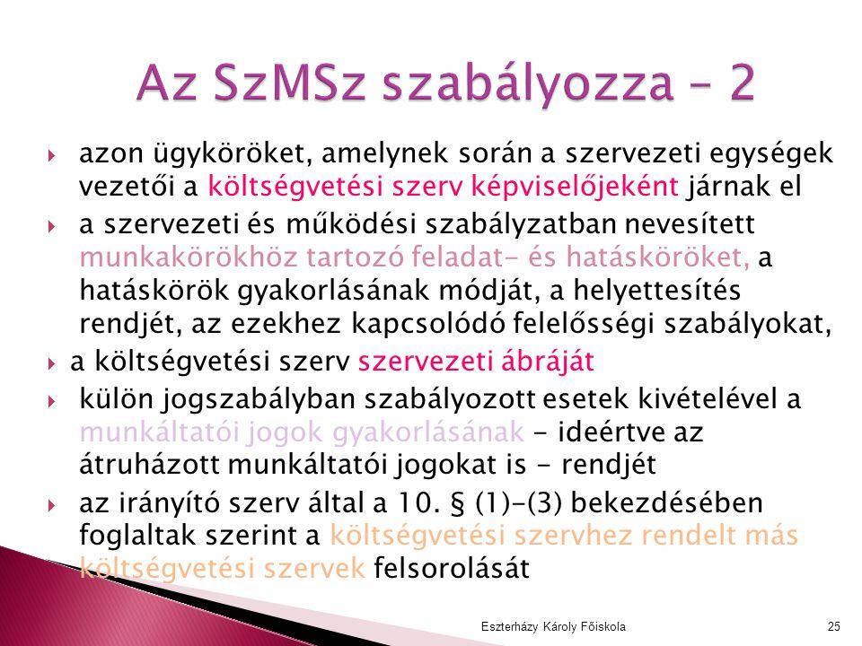 Az SzMSz szabályozza – 2 azon ügyköröket, amelynek során a szervezeti egységek vezetői a költségvetési szerv képviselőjeként járnak el.