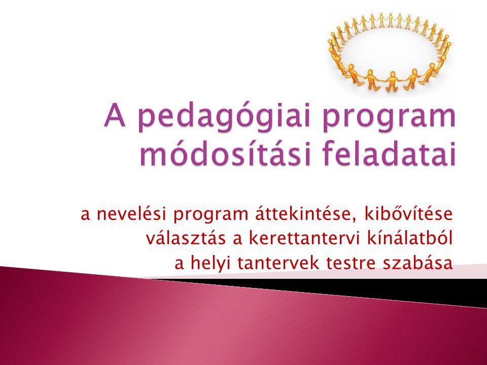 A pedagógiai program módosítási feladatai