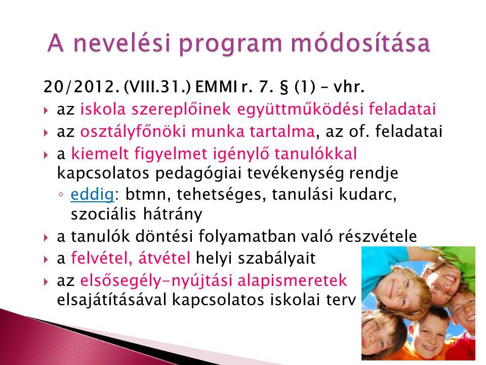 A nevelési program módosítása