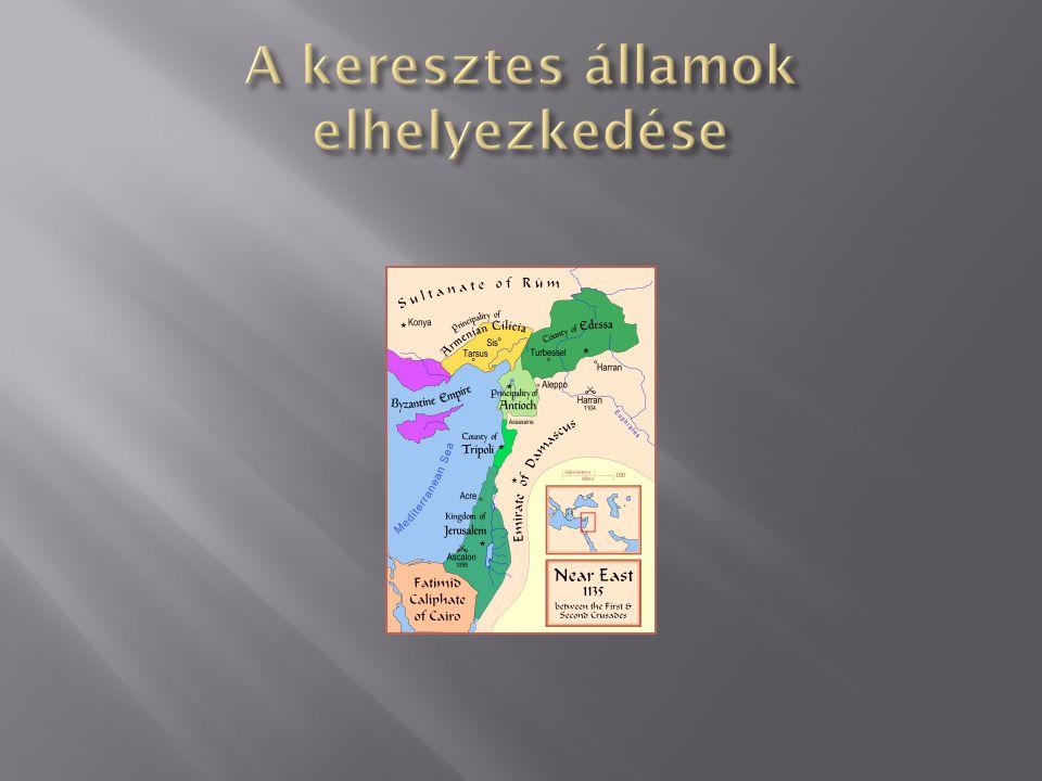A keresztes államok elhelyezkedése
