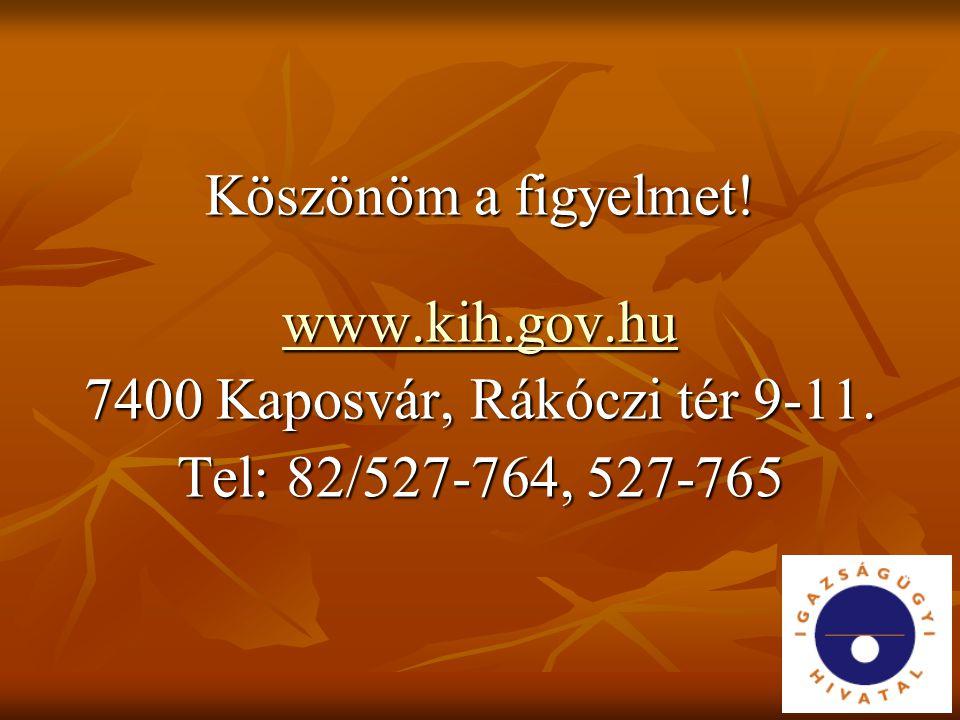 Köszönöm a figyelmet! www.kih.gov.hu 7400 Kaposvár, Rákóczi tér 9-11. Tel: 82/527-764, 527-765