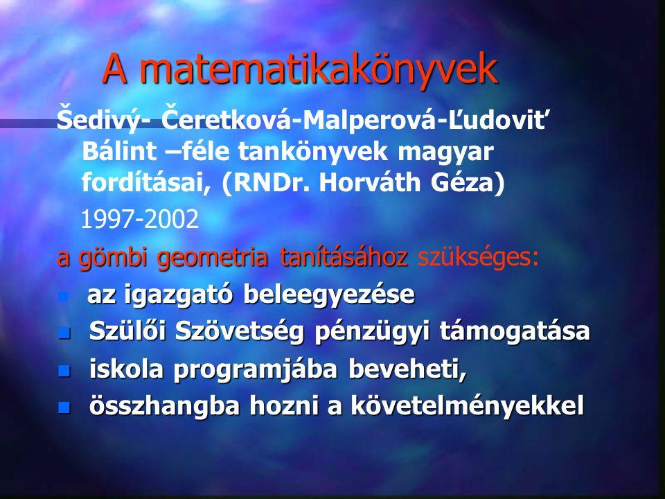 A matematikakönyvek Šedivý- Čeretková-Malperová-Ľudoviť Bálint –féle tankönyvek magyar fordításai, (RNDr. Horváth Géza)