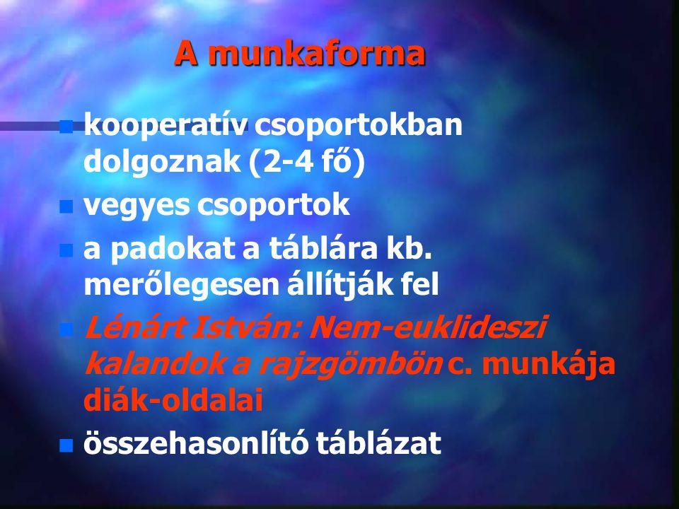 A munkaforma kooperatív csoportokban dolgoznak (2-4 fő)