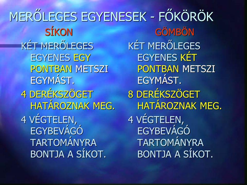 MERŐLEGES EGYENESEK - FŐKÖRÖK