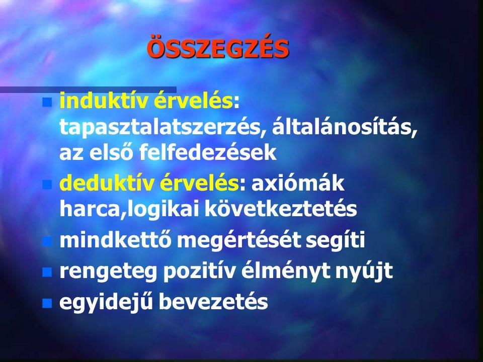 ÖSSZEGZÉS induktív érvelés: tapasztalatszerzés, általánosítás, az első felfedezések. deduktív érvelés: axiómák harca,logikai következtetés.