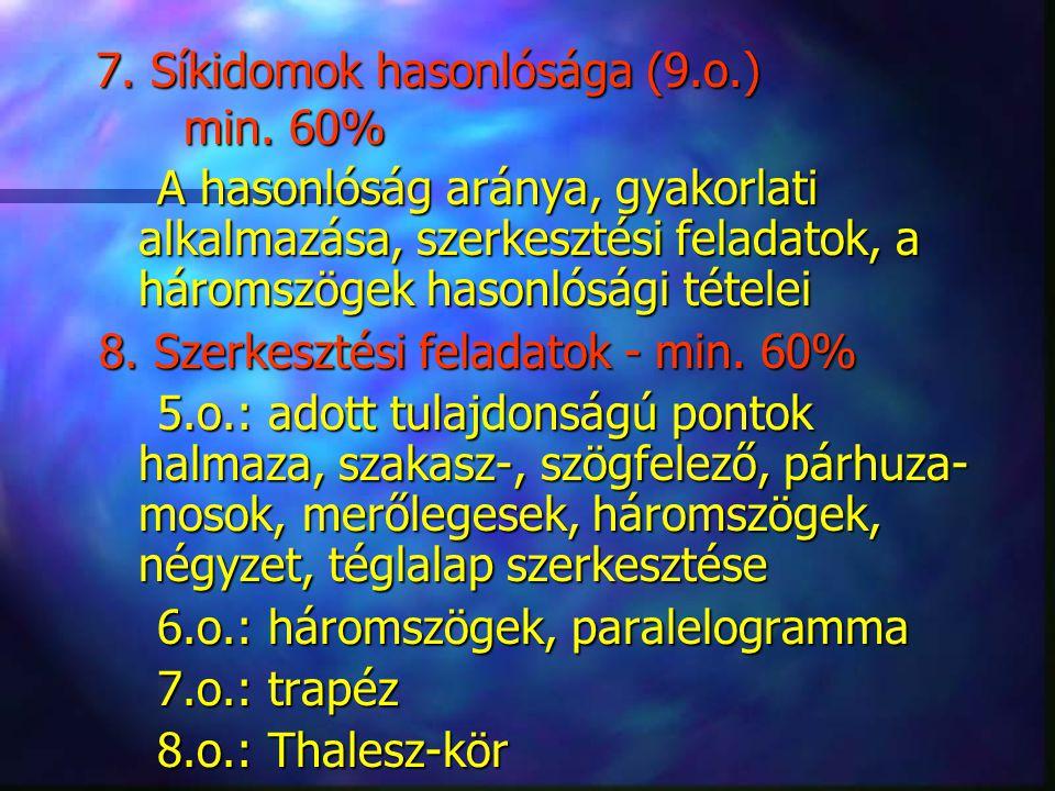 7. Síkidomok hasonlósága (9.o.) min. 60%