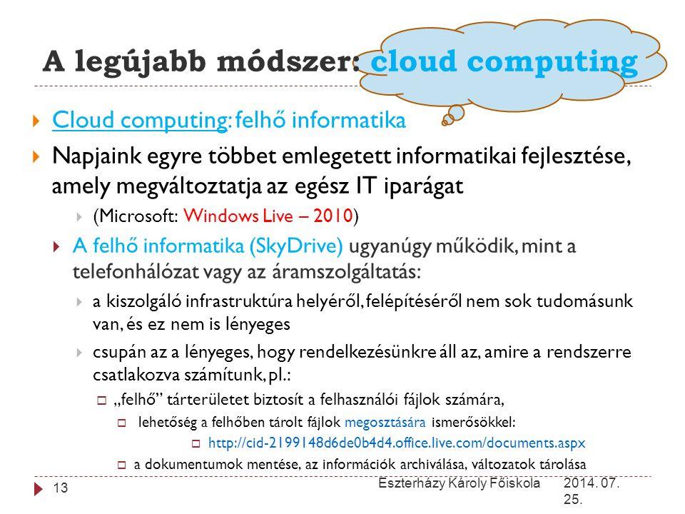 A legújabb módszer: cloud computing